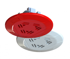 Red and white Mircom ceiling speaker SPP-104