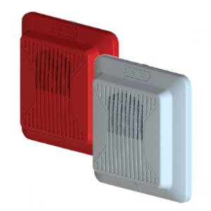 Mircom's SPP-204 wall mount speakers in red and white
